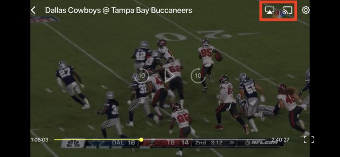 NFLゲームパスのテレビ画面表示方法